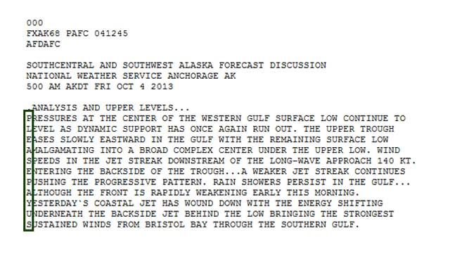 Encoded message from weathermen in Alaska (http://www.powder.com/stories/skiing-and-the-shutdown/)